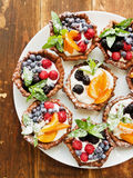 Tartlets with cheese and berries Royalty Free Stock Photo