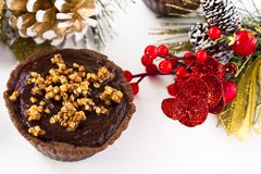 Tartlets with chocolate ganache. And roasting buckwheat groats Royalty Free Stock Photos