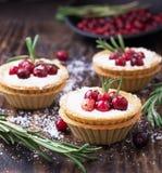 Tartlets ciasto z kremowymi i świeżymi jagodami obrazy stock