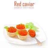 Tartlets con el caviar rojo Foto de archivo libre de regalías