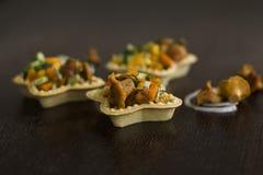Tartlets con los mízcalos Fotos de archivo libres de regalías