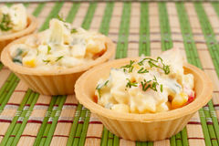 Tartlets with crab salad Stock Image