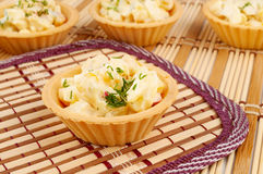 Tartlets with crab salad Stock Photo