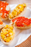 Tartlets with crab salad and corn Stock Photography