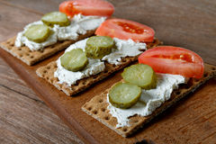 Tartlets with cucumbers tomatoes and cheese Royalty Free Stock Image
