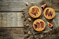 Tartlets with Fig and almond cream (Frangipane) Stock Photo