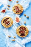 Tartlets with Fig and almond cream (Frangipane) Stock Image