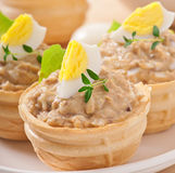 Tartlets with fish paste Royalty Free Stock Images