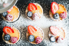 Tartlets of fresh berries and icing sugar Royalty Free Stock Photos