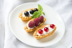 Tartlets with fresh fruits Stock Photo