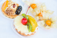 Tartlets with fruit Royalty Free Stock Photos
