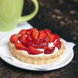 Tartlets with juicy strawberries Stock Photos