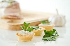 Tartlets with lard Stock Photography