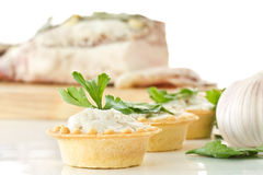 Tartlets with lard Royalty Free Stock Images