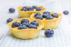 Tartlets with lemon curd and blueberries. Closeup Royalty Free Stock Photo
