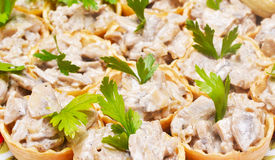 Tartlets with liver pate Royalty Free Stock Image