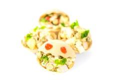 Tartlets mat, mellanmål, gourmet, frukost, vegetarian som är sund, matställe Royaltyfri Foto
