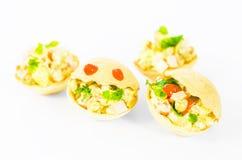 Tartlets mat, mellanmål, gourmet, frukost, vegetarian som är sund, matställe Fotografering för Bildbyråer