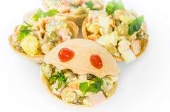 Tartlets mat, mellanmål, gourmet, frukost, vegetarian som är sund, matställe Arkivbild