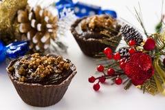 Tartlets med chokladganache Arkivfoton