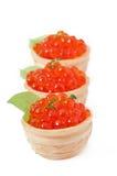 Tartlets med den röda kaviaren Royaltyfria Foton