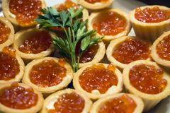 Tartlets med den röda kaviaren och smör som dekoreras med persilja Royaltyfri Fotografi