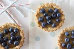 Tartlets mit Blaubeeren Stockfotos