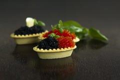 Tartlets negros y rojos del caviar Fotos de archivo libres de regalías