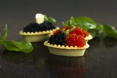 Tartlets negros y rojos del caviar Fotos de archivo