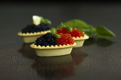 Tartlets negros y rojos del caviar Fotografía de archivo libre de regalías
