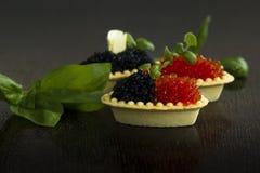 Tartlets negros y rojos del caviar Fotografía de archivo