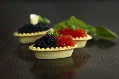 Tartlets negros y rojos del caviar Imagen de archivo