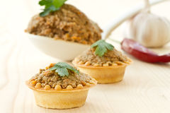 Tartlets with paste Royalty Free Stock Images