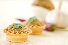 Tartlets with paste Stock Photo