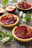 Tartlets with plum on wooden background Royalty Free Stock Photos