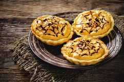 Tartlets with pumpkin cream for Halloween for kids Royalty Free Stock Photos