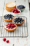 Tartlets with raspberries and blueberries Stock Photo