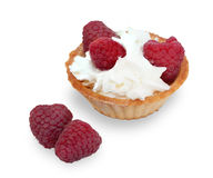 Tartlets with raspberries; whipped cream and mint leaves isolate Royalty Free Stock Photo