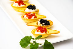 Tartlets with Red and Black Caviar Royalty Free Stock Images