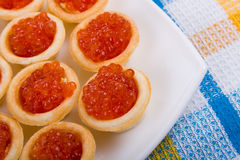Tartlets with red caviar Royalty Free Stock Images