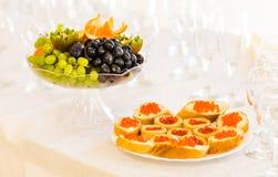 Tartlets with red caviar close up. Gourmet food closeup, appetizer Royalty Free Stock Photos
