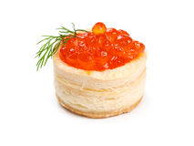 Tartlets with red caviar Stock Image