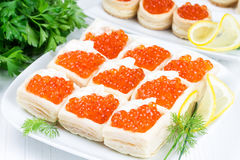 Tartlets with red caviar Royalty Free Stock Photo