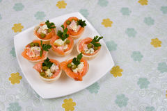 Tartlets with red fish Stock Photography