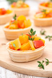 Tartlets with roasted vegetables and thyme closeup Stock Photography