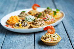 Tartlets with salads and shrimps on a white plate on wooden table Royalty Free Stock Photo