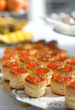 Tartlets with salmon caviar Royalty Free Stock Photography