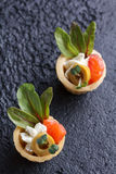 Tartlets with salmon and cheese cheese with micro-green on a dark background. Cold appetizer Stock Photography