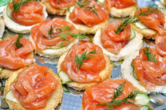 Tartlets with salmon, dill and cucumber. On table Royalty Free Stock Photography