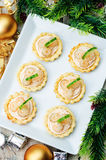 Tartlets with salmon mousse, shrimp and cucumber stock photo